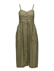 Pockets linen-blend dress - BEIGE - KHAKI