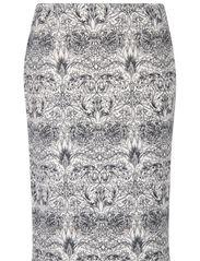 Neoprene-effect printed skirt - Natural white