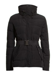 Belted feather down coat - Black