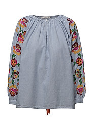 Embroidered fine-stripe blouse - NATURAL WHITE