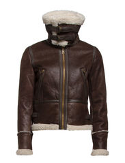Faux shearling-lined jacket - Dark brown