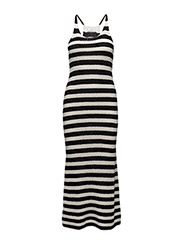 Striped jersey dress - BLACK