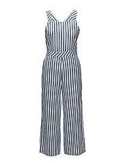 Striped cotton jumpsuit - MEDIUM BLUE