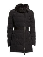 Faux fur appliqu coat - Black