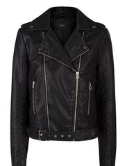 Belted biker jacket - Black