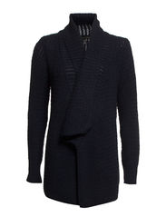 Lapel wool-blend cardigan - Navy