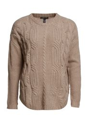 Cable-knit wool-blend sweater - Light beige