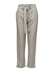 Striped linen-blend trousers - LT PASTEL GREY