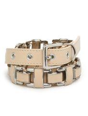 Metal appliqu belt - Lt pastel brown