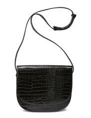 Croc-effect cross-body bag - Black