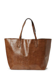 Snake-effect shopper bag - Medium brown