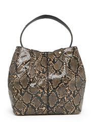 Snake effect bag - Dark brown