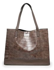 Croc-effect shopper bag - Dark brown