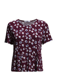 Pleated floral t-shirt - Dark red