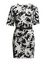 Belt floral dress - Black