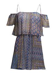 Printed silk dress - Turquoise - aqua