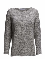 Flecked cotton-blend sweater - Medium grey