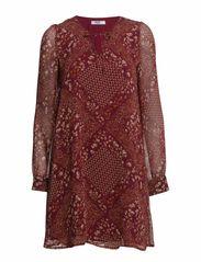 Floral chiffon dress - Dark red
