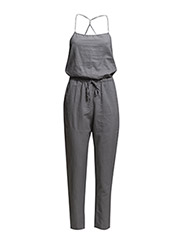 Long linen-blend jumpsuit - Grey