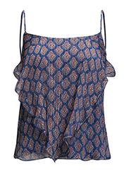 Printed silk top - Lt-pastel blue