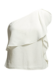 Asymmetric ruffle top - Natural white