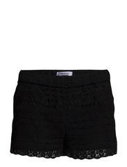 Cotton crochet shorts - Black