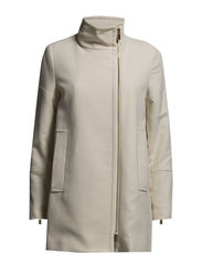 Asymmetric zip coat - Light beige