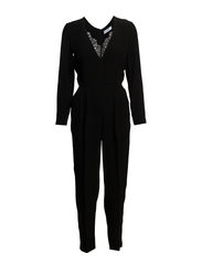 Lace appliqu jumpsuit - Black