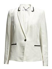 Linen-blend trim blazer - Natural white