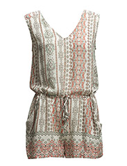 Printed short jumpsuit - Light beige