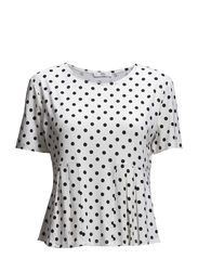 Pleated polka-dot t-shirt - Natural white