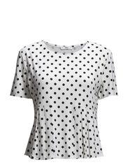 Pleated polka-dot t-shirt - Natural white