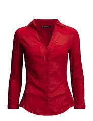 Chest-pocket cotton shirt - Dark orange
