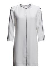 Contrast trim dress - Natural white