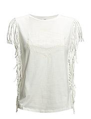 Fringed cotton t-shirt - Natural white