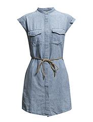Cotton-blend shirt dress - Open blue