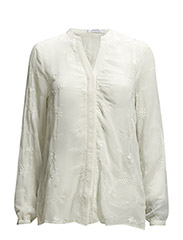 Embroidered sheer blouse - Natural white