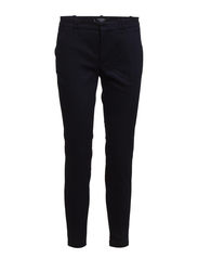 Straight cotton-blend trousers - Navy