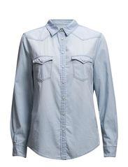 Bleached wash denim shirt - Open blue
