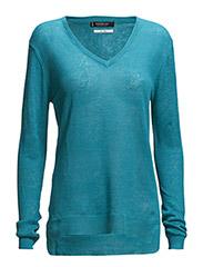 Fine-knit linen sweater - Turquoise - aqua