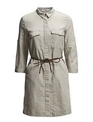 Linen-blend shirt dress - Lt pastel grey