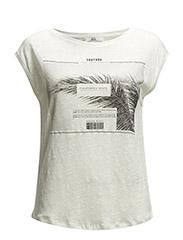Printed linen-blend t-shirt - Natural white