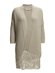 Fringed hem cardigan - Light beige