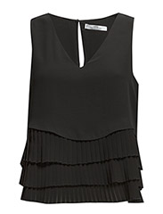Pleated layers top - Black