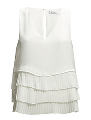 Pleated layers top - Natural white