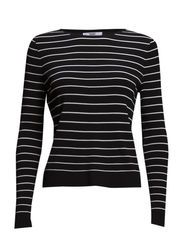 Fine-knit striped sweater - Black