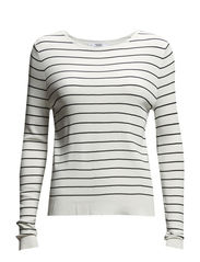 Fine-knit striped sweater - Natural white