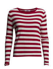 Fine-knit striped sweater - Red