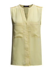 Chest-pocket chiffon blouse - Yellow