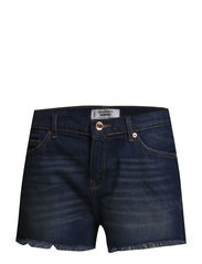 Dark denim shorts - Open blue
